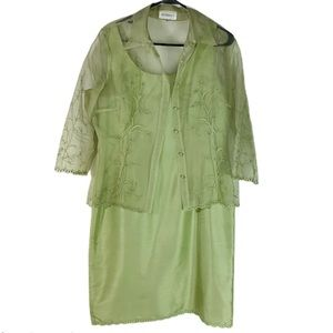 Studio Pastel Green Dress And Sheer Cover up